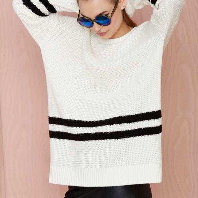 On the Line Waffle Sweater