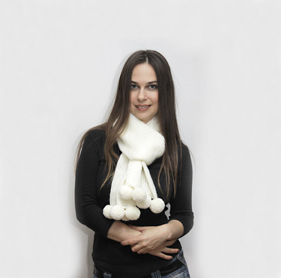 White Knitted Scarf with Pompons