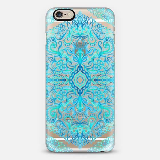 Watercolor Lace Doodle in Turquoise & Aqua on Transparent iPhone 6 Case