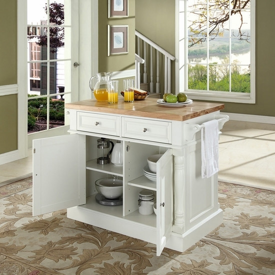 Butcher Block Cutting Board Top Kitchen Island in White Finish