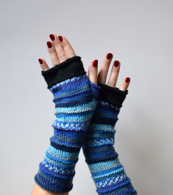 Blue Fingerless Gloves Gift Merino Wool Fingerless