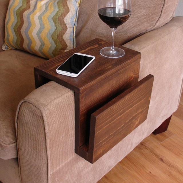 Awesome Couch Sofa Arm Rest & Tray Table with Side Storage Slot